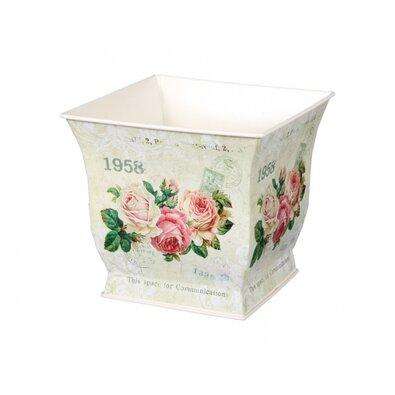 Plechový obal na květináč Květy růží, 18 x 16 x 18 cm