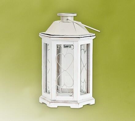 Solární lampa ze světlého dřeva, bílá, 20,5 x 20,5 x 32 cm