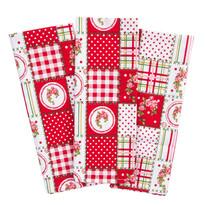 Kuchynská utierka Country patchwork červená,  50 x 70 cm, sada 3 ks