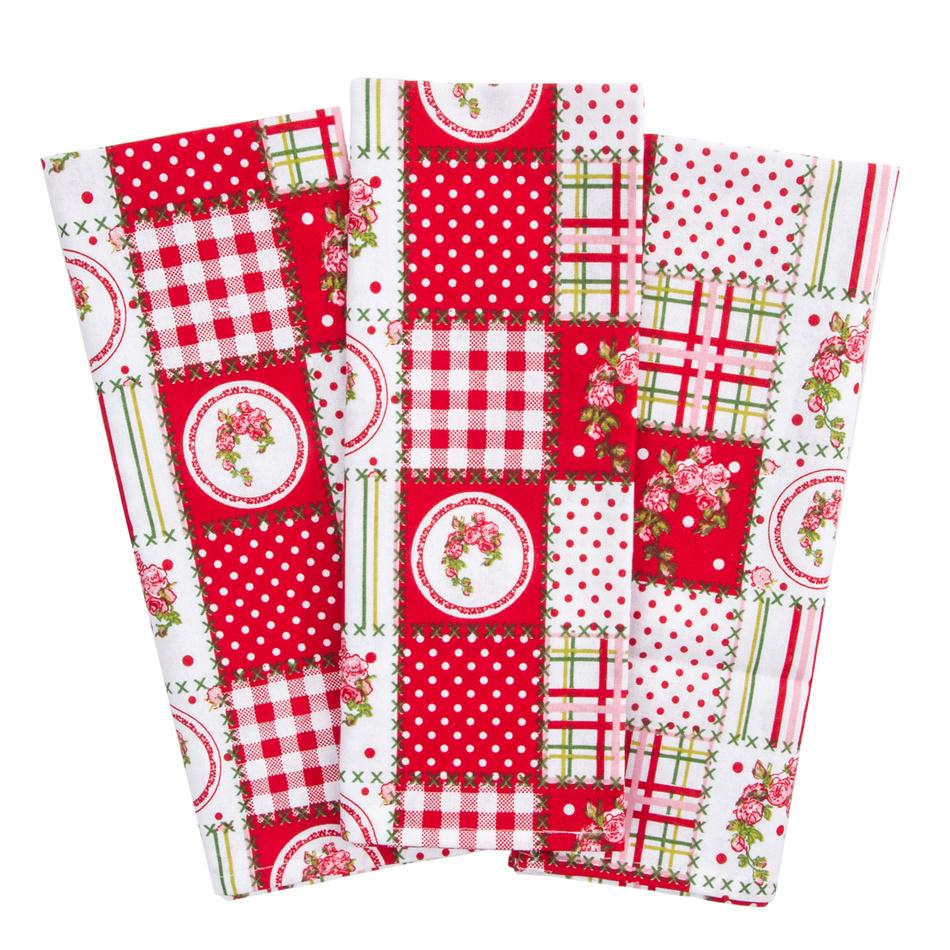 Trade Concept Kuchyňská utěrka Elegant patchwork červená,50 x 70 cm, sada 3 ks