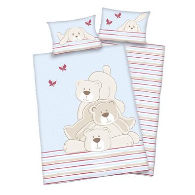 Dětské bavlněné povlečení do postýlky Lara Polar bears, 135 x 100 cm, 40 x 60 cm