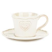 Filiżanka ceramiczna z talerzykiem Serce 190 ml