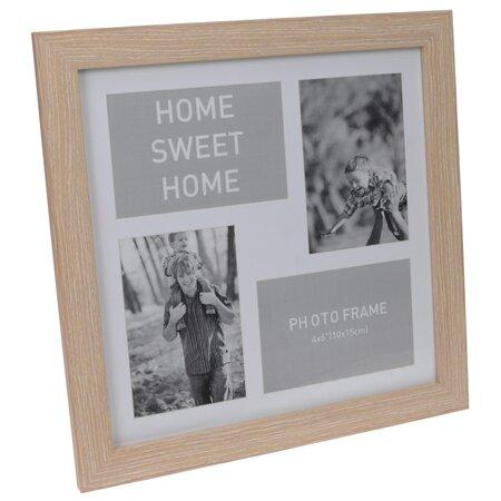 Fotorámeček na 4 fotografie Lamego světle hnědá, 37 x 37 cm