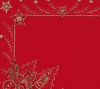 Vánoční ubrus s potiskem, červená, 42 x 85 cm