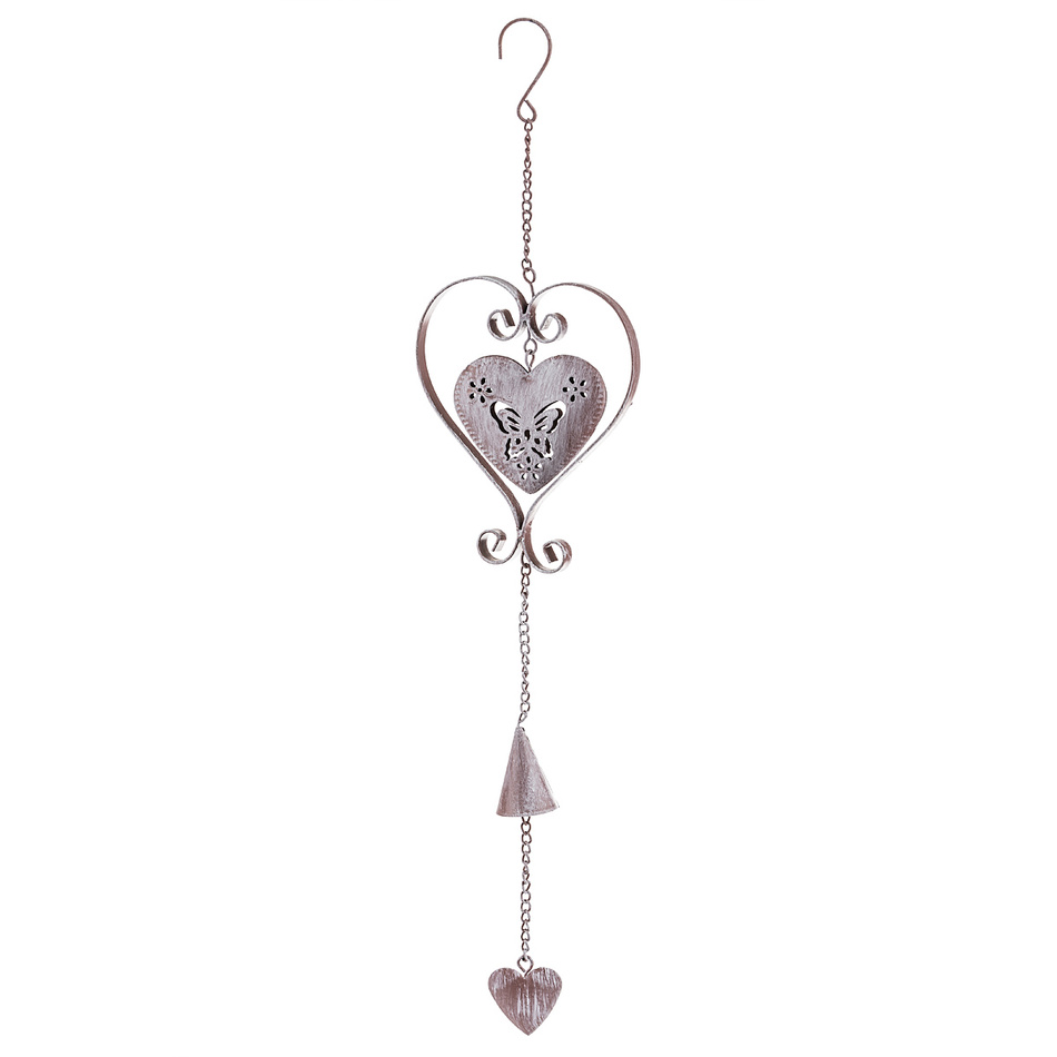Závěsná kovová dekorace srdce, růžová