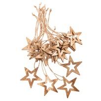 Sada vánočních dřevěných ozdob Hvězda natur, 18 ks