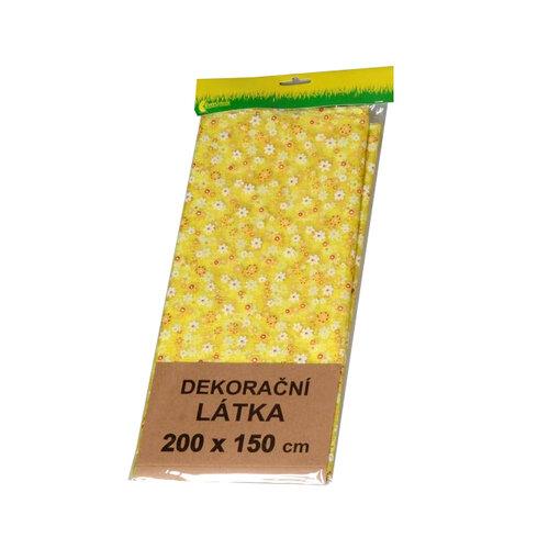 Organza s květinovým vzorem, žlutá, 200 x 150 cm, HTH