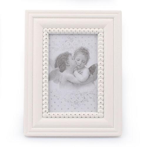 Drevený fotorámček Cupido, biela