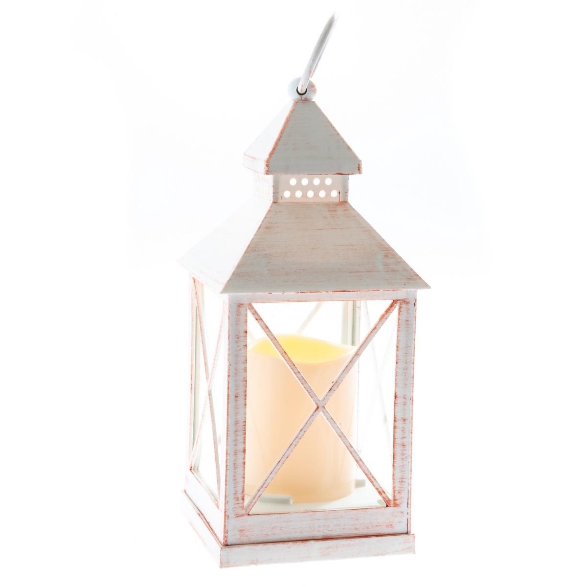 Lucerna s LED svíčkou na baterie Nancy 10 x 23,5 cm, bílá