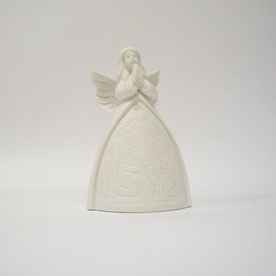 Svítící anděl s LED, 10,8 x 10,8 x 15,7 cm, bílá