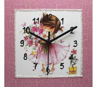 Nástěnné hodiny Holčička s náručí květů