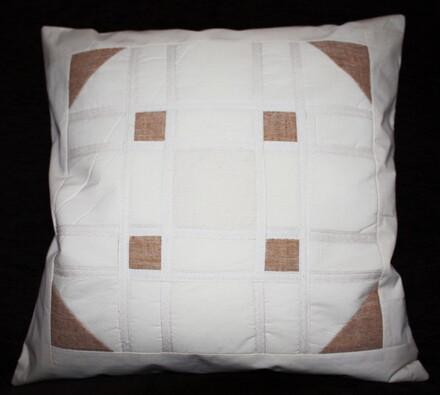 Bavlněný povlak na polštářek Kostička, 40 x 40 cm, bílá + hnědá, 40 x 40 cm