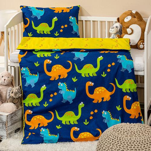 4Home Detské bavlnené obliečky do postieľky Dino, 100 x 135 cm, 40 x 60 cm