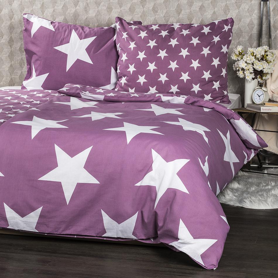 JAHU Bavlněné povlečení New Stars fialová, 140 x 200 cm, 70 x 90 cm