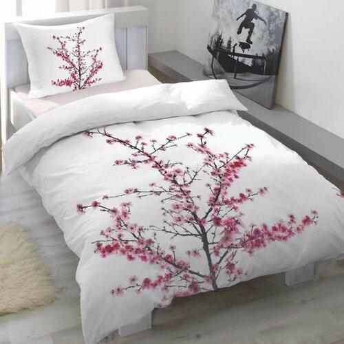 Saténové povlečení Cherry blossom, 140 x 200 cm, 70 x 90 cm