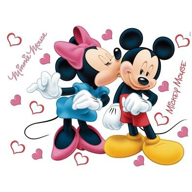 Dekoracja samoprzylepna Minnie i Mickey, różowa, 42,5 x 65 cm