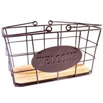 Kovový obdélníkový košík Welcome, 30 x 15 x 18 cm