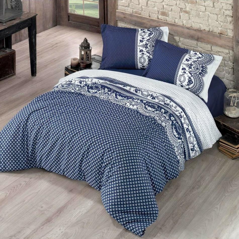 Kvalitex Bavlněné povlečení Canzone modrá, 140 x 220 cm, 70 x 90 cm