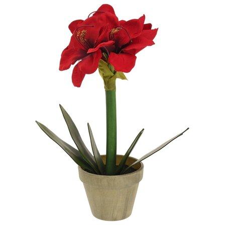 Umelá Vianočná Klívia v kvetináči červená, 30 cm