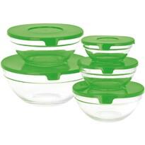 5 részes üveg tálkakészlet fedővel, zöld