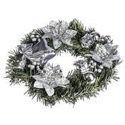 Vánoční věnec s poinsetií pr. 25 cm, stříbrná