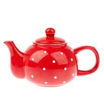 Dzbanek ceramiczny na herbatę Dots 1l, czerwony