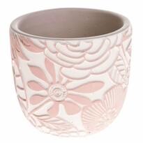Recipient de ghiveci Flower, din beton, roz, 17,5x 16 x 17,5 cm