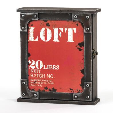 Skříňka na klíče Loft červená