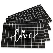 Altom Love Black alátét, 28 x 43 cm, 4 db-os készlet