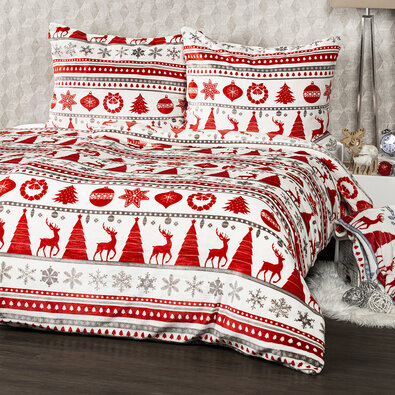 4Home Christmas Time mikroflanel ágynemű, piros, 140 x 200 cm, 70 x 90 cm