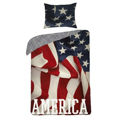 Bavlněné povlečení Amerika, 140 x 200 cm, 70 x 90 cm