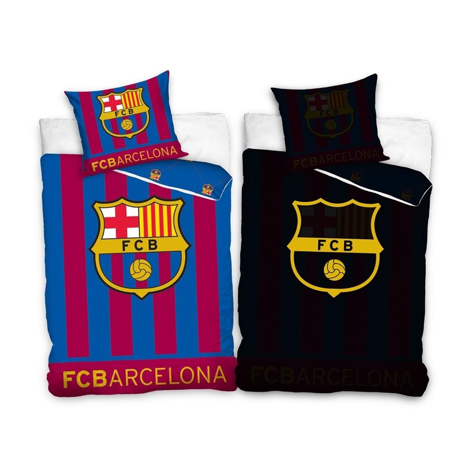 Tipt Trade Bavlněné svíticí povlečení FC Barcelona Stripes, 140 x 200 cm, 70 x 80 cm