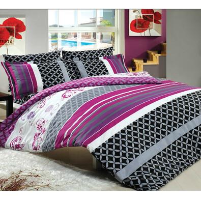 Bavlněné povlečení BELLA fialová, 220 x 200 cm, 2 ks 70 x 90 cm