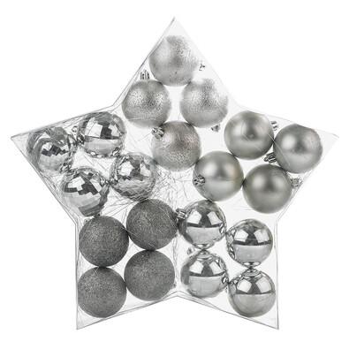 Vánoční koule stříbrná, 20 ks