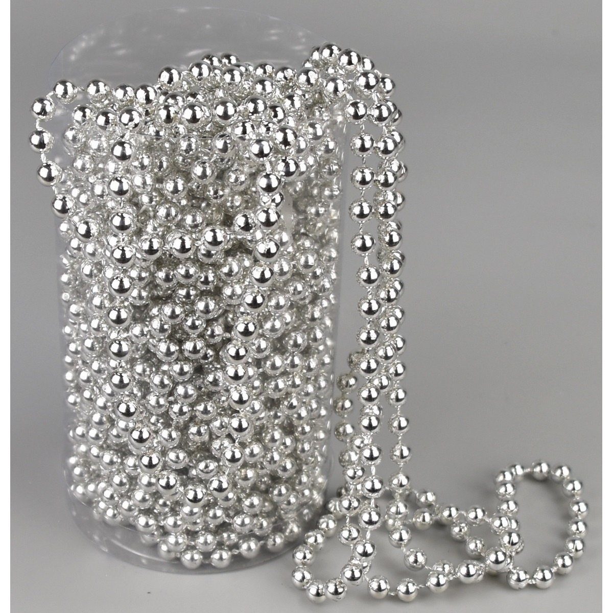 Vánoční perličková girlanda stříbrná, 15 m