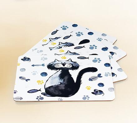 Korková podložka Kočka 40 × 30 cm, sada 4 ks, bílá + černá, 40 x 30 cm
