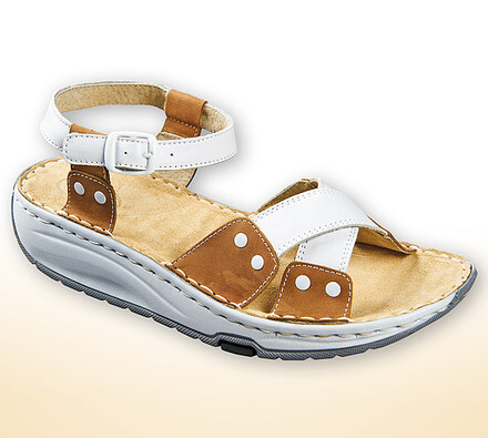 Orto Plus Dámské sandály s aktivní podrážkou vel.  38 hnědobílé