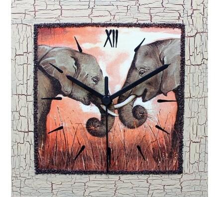 Nástěnné hodiny zamilovaní sloni