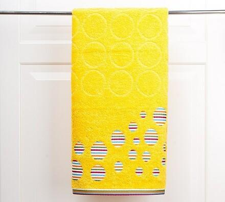 Osuška s kruhmy, žltá, 70 x 140 cm