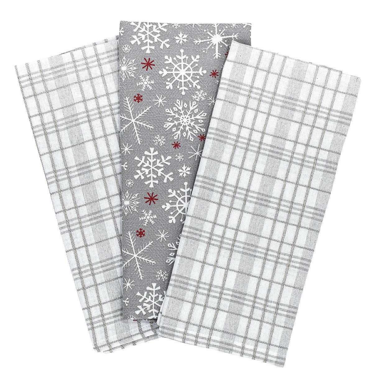 Forbyt Vánoční kuchyňská utěrka Vločka šedá, 45 x 70 cm, sada 3 ks
