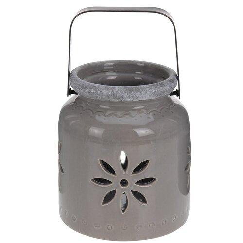 Porcelánový lampáš Fabara, hnedá