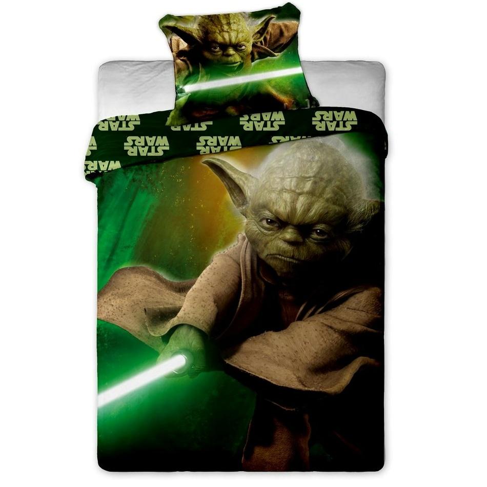 Jerry Fabrics Detské bavlnené obliečky Star Wars Yoda, 140 x 200 cm, 70 x 90 cm