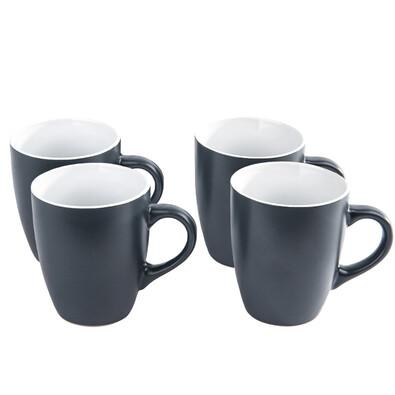 Set 4 piese de căni din ceramică, gri închis, 340 ml