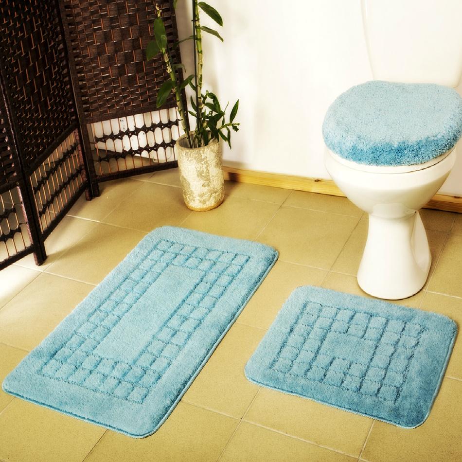 Euromat Sada kúpeľňových predložiek Pearl modrá, 80 x 50 cm, 50 x 40 cm