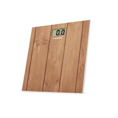 Fotografie Beper Digitální skleněná osobní váha do 150 kg 40810, hnědá - dřevo