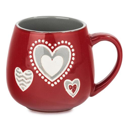 Porcelánový hrnček Srdce, červená, 500 ml