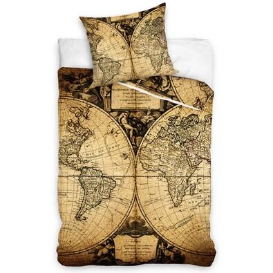 Pościel bawełniana Mapa świata, 140 x 200 cm, 70 x 90 cm