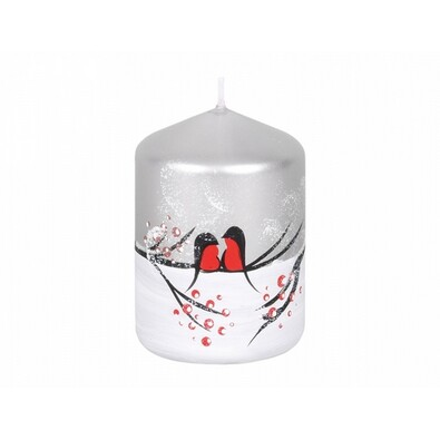 Świeczka dekoracyjna Ptaszki w zimie, walec