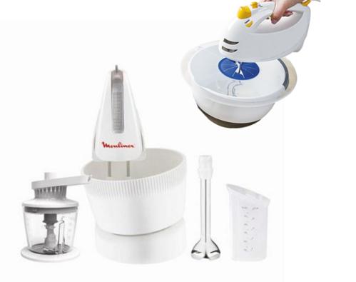 Ruční mixér, HM617130 s rotační nádobou, Moulinex, bílá