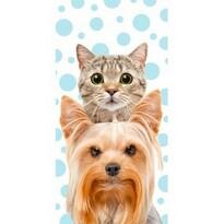 Cica és kutyus törölköző, 70 x 140 cm